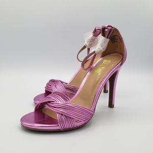 Brash Odessa pink purple shiny twisted heels shoes